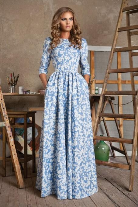 Immaculate Sky Blue Color Digital Printed Long Gown