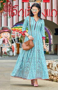 Prominent Light Blue Color Havy Digital Printed Gown