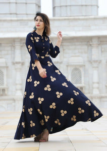 Eye Catching Navy Blue Color Digital Printed Anarkali Gown