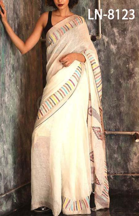 Latest White Color Linen Designer Digital Print Saree LN8123