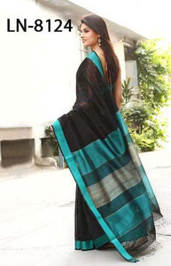 Excellent Blue and Black Color Linen Designer Digital Print Saree LN8124