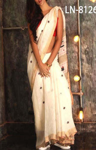 Vintage cream Color Linen Designer Digital Print Saree LN8126