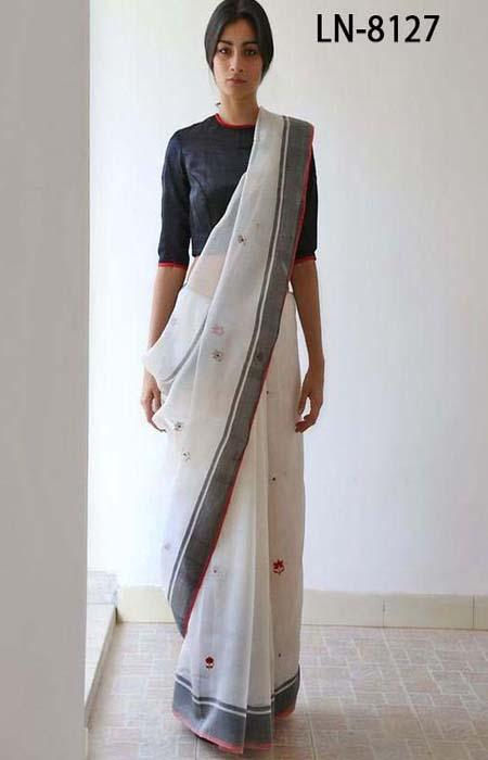 Perfect White and Black Color Linen Designer Digital Print Saree LN8127