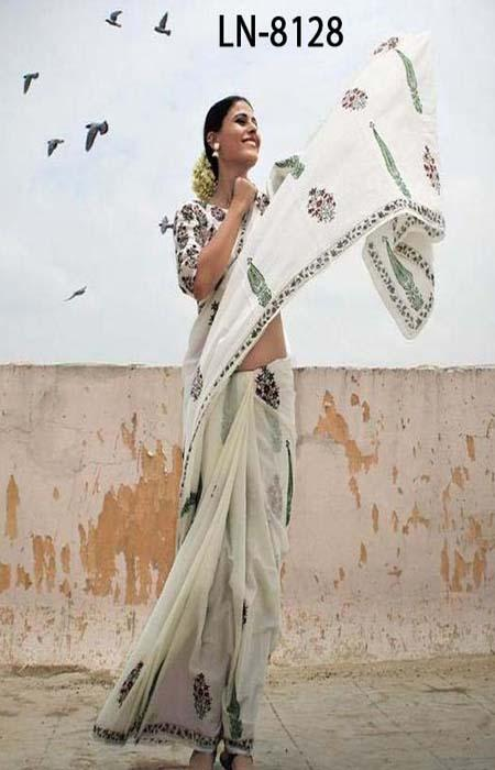 Refreshing White Color Linen Designer Digital Print Saree LN8128