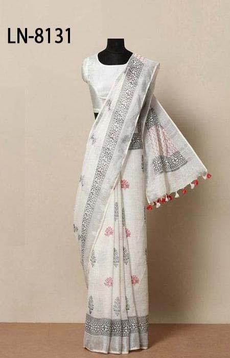 Sensational Red and White Color Linen Designer Digital Print Saree LN8131