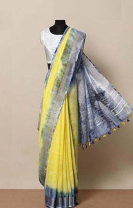Amazing Yellow and Blue Color Linen Designer Digital Print Saree LN8132