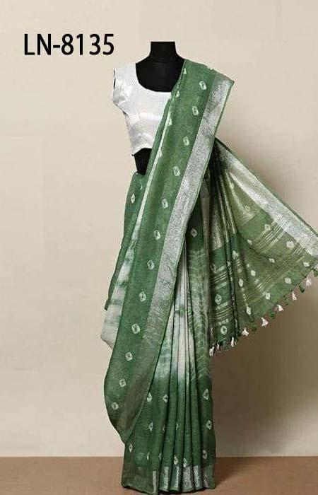 Surpassing Green Color Linen Designer Digital Print Saree LN8135
