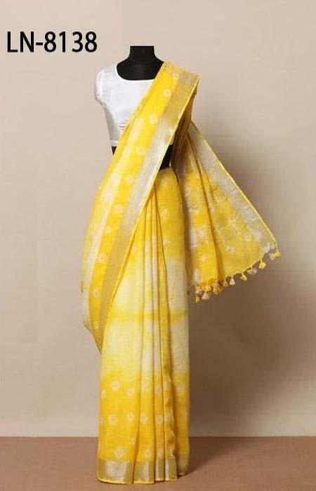 Embodied Yellow Color Linen Designer Digital Print Saree LN8138