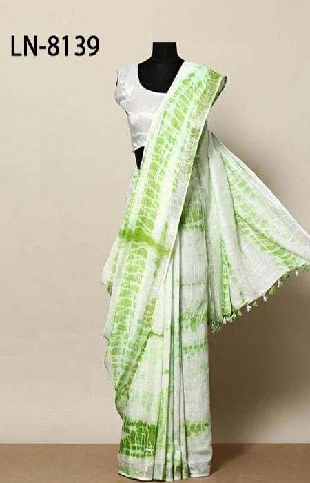Fascinating Green and White Color Linen Designer Digital Print Saree LN8139