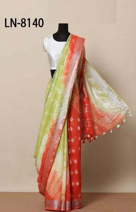 Glorious Red and Green Color Linen Designer Digital Print Saree LN8140