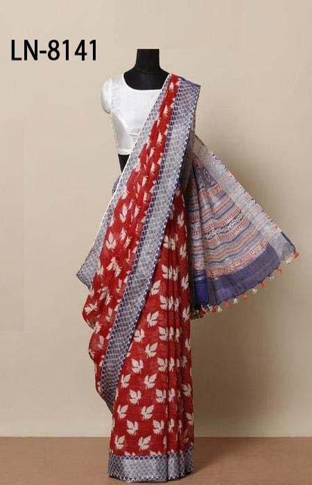Impressive Red and Purple Color Linen Designer Digital Print Saree LN8141