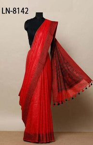 Trendy Red Color Linen Designer Digital Print Saree LN8142