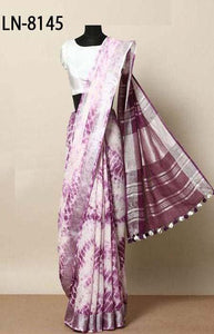Vivacious Purple and White Color Linen Designer Digital Print Saree LN8145