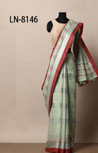 Pleasing Green and Red Color Linen Designer Digital Print Saree LN8146