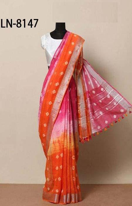 Rich Orange and Pink Color Linen Designer Digital Print Saree LN8147