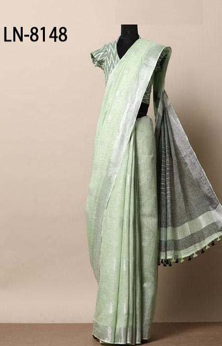 Sizzling Light Green Color Linen Designer Digital Print Saree LN8148