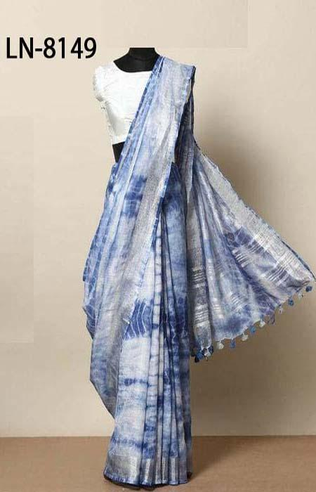 Arresting White and Blue Color Linen Designer Digital Print Saree LN8149