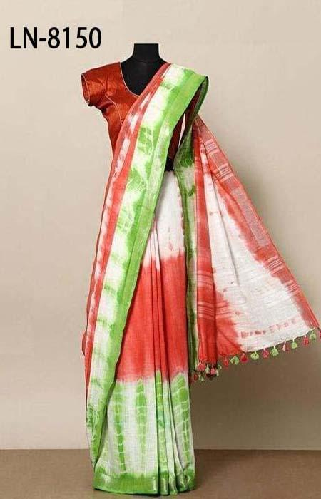 Buoyant Multi Color Linen Designer Digital Print Saree LN8150