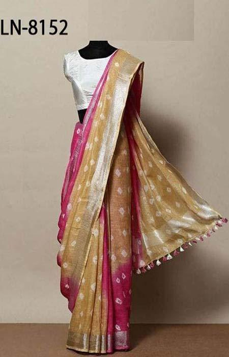 Desiring Yellow and Blue Color Linen Designer Digital Print Saree LN8152