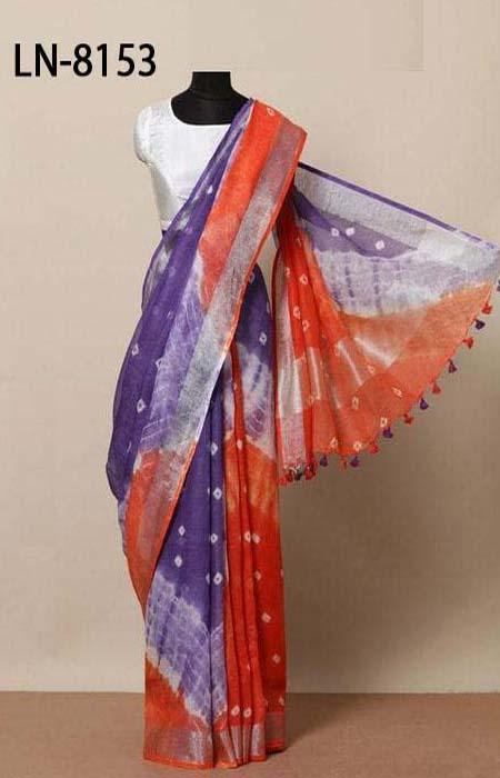 Engrossing purple and Red Color Linen Designer Digital Print Saree LN8153