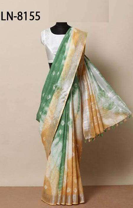 Innovative Yellow and Green Color Linen Designer Digital Print Saree LN8155