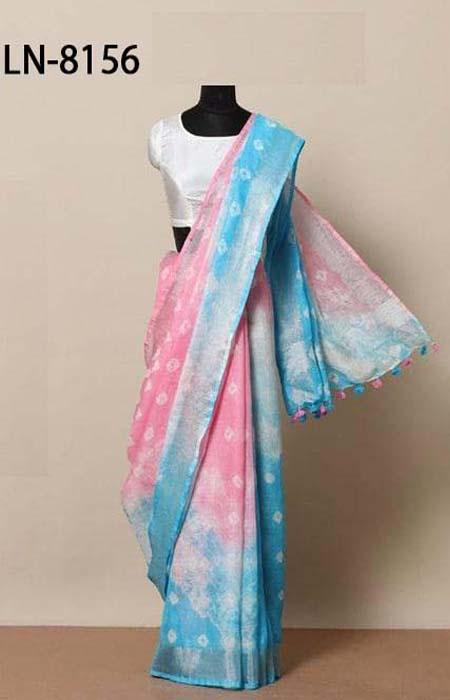 Unique Pink and Blue Color Linen Designer Digital Print Saree LN8156