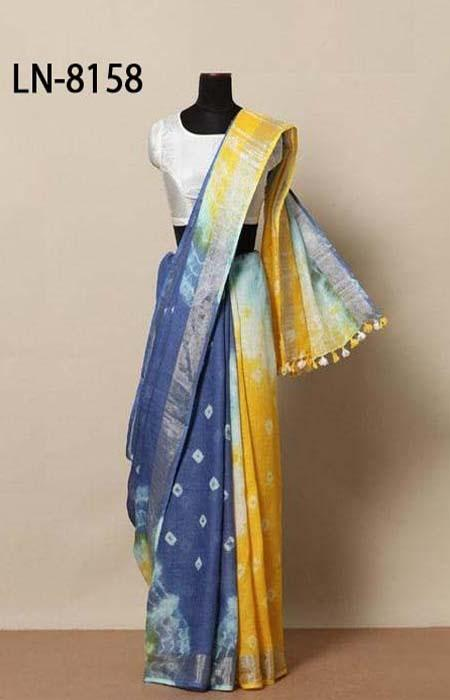 Mind Blowing Blue and Yellow Color Linen Designer Digital Print Saree LN8158