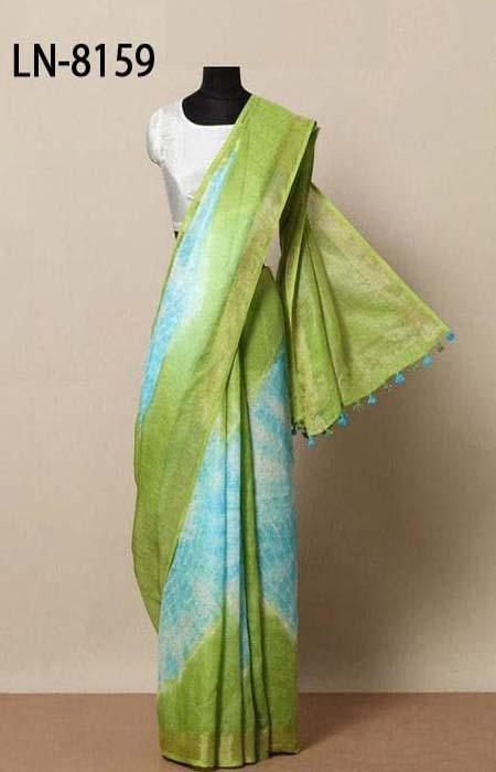 Vivid Green and Blue Color Linen Designer Digital Print Saree LN8159