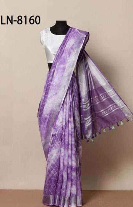 Pleasurable Purple Color Linen Designer Digital Print Saree LN8160