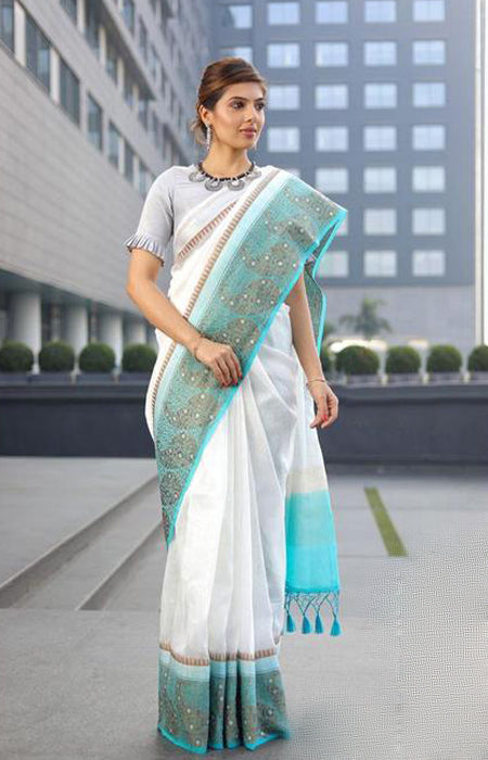 Superior Blue and White Color Designer Silk Saree LN01