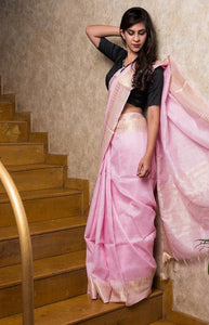Impressive Pink Color Linen Designer Digital Print Saree LN08