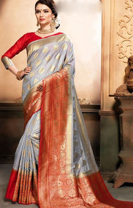 Trendy Gray and Red Linen Designer Digital Print Saree LN09