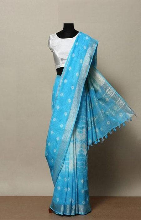 Eventual Blue Color Linen Designer Digital Print Saree LN8011