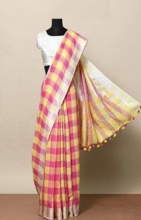 Magnetic Red and White Color Linen Designer Digital Print Saree LN8012