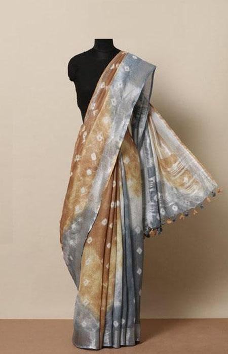 Vibrant Multi Color Linen Designer Digital Print Saree LN8013