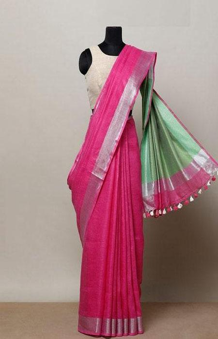 Radient Pink Color Linen Designer Digital Print Saree LN8015