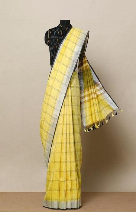 Scintillating Yellow Color Linen Designer Digital Print Saree LN8016