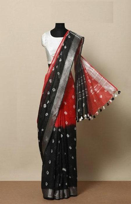 Elegant Black and Red Color Linen Designer Digital Print Saree LN8021