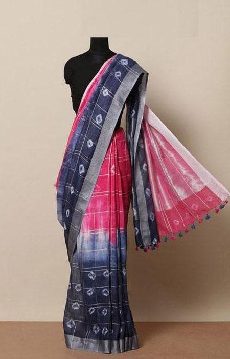 Immaculate Blue and Pink Color Linen Designer Digital Print Saree LN8025