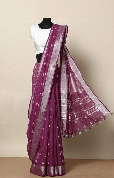 Prominent Hot Pink Color Linen Designer Digital Print Saree LN8026