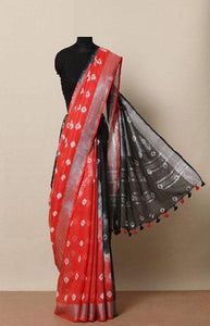 Outstanding Red and Black Color Linen Designer Digital Print Saree LN8028