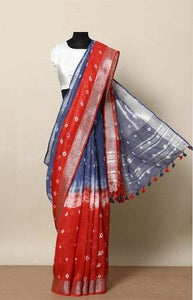 Evergreen Red and Blue Color Linen Designer Digital Print Saree LN8029