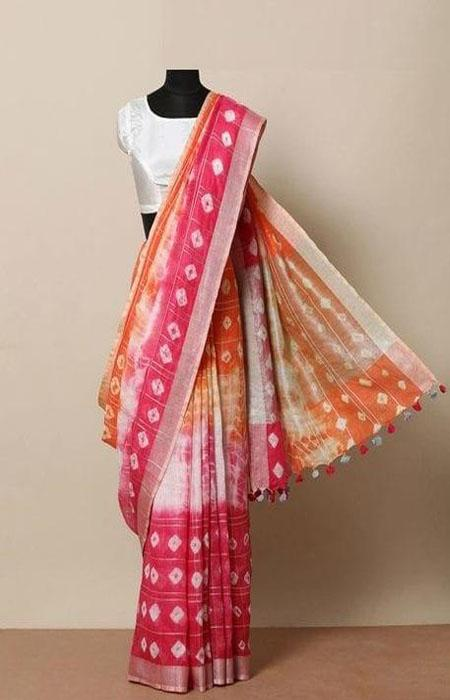 Peculiar Pink and Orange Color Linen Designer Digital Print Saree LN8032