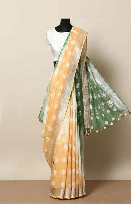 Scorching Yellow and Green Color Linen Designer Digital Print Saree LN8034