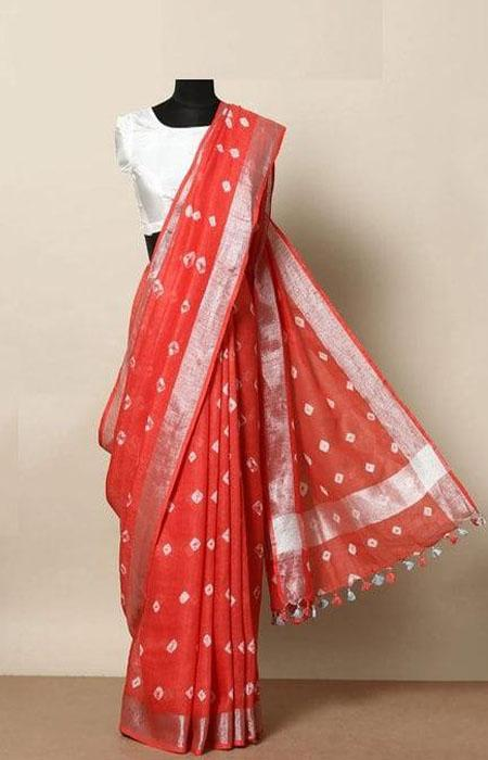 Alluring Red Color Linen Designer Digital Print Saree LN8035