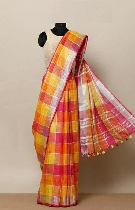 Charming Multi Color Linen Designer Digital Print Saree LN8037