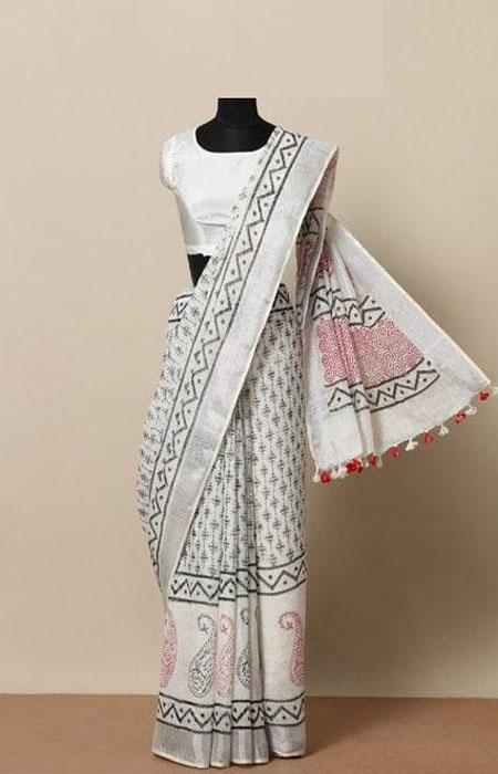 Gratifying Grey Color Linen Designer Digital Print Saree LN8046