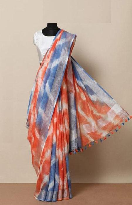 Modern Blue and Orange Color Linen Designer Digital Print Saree LN8062