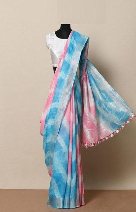Exquisite Blue and Pink Color Linen Designer Digital Print Saree LN8063