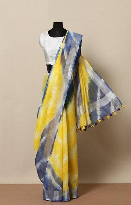 Gripping Yellow and Blue Color Linen Designer Digital Print Saree LN8065